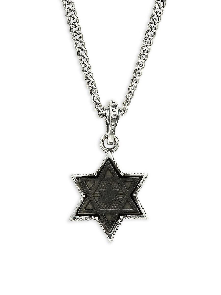 Men's Large Sterling Silver Star of David Pendant Necklace