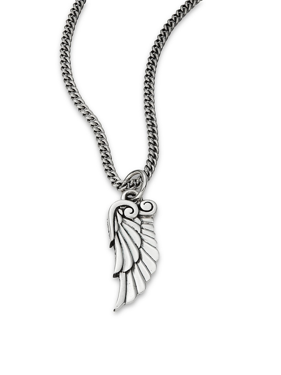 Men's Sterling Silver Bird-Wing Pendant Necklace