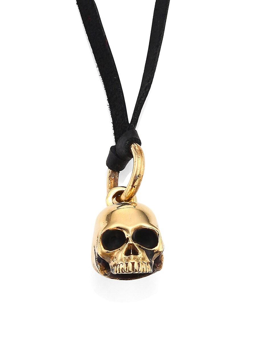 Men's Small Hamlet Skull Pendant & Leather Cord Necklace