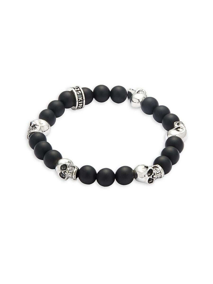 Men's Onyx Skull Bracelet