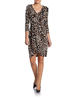 Sydney Leopard Print Wrap Dress   Coffee Bean