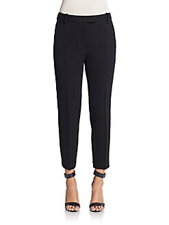 3.1 Phillip Lim Black Cropped Needle Trousers in Ba010 Black