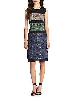 Colorblock Python Print Chiffon Dress